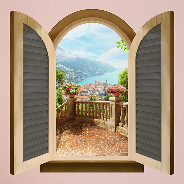 Wall Stickers: Window lookout coast village