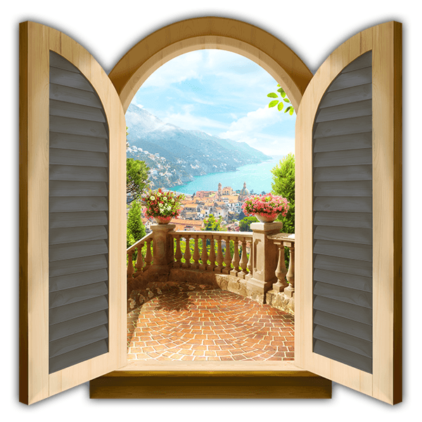 Wall Stickers: Window lookout coast village 0
