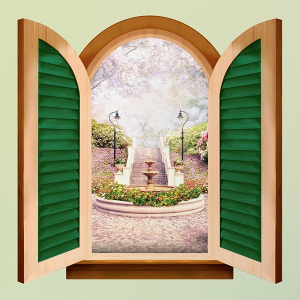Wall Stickers: Window Flower fountain