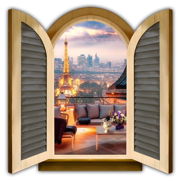 Wall Stickers: Window terrace in front of Eiffel Tower