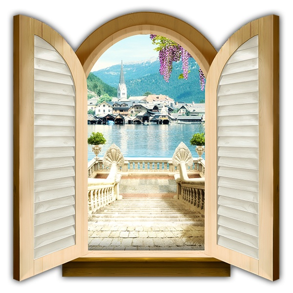 Wall Stickers: Window stairs to Hallstatt