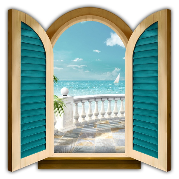 Wall Stickers: Window terrace to the sea