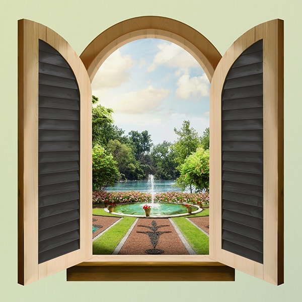 Wall Stickers: Window palace fountain 1