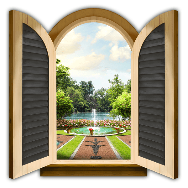 Wall Stickers: Window palace fountain 0