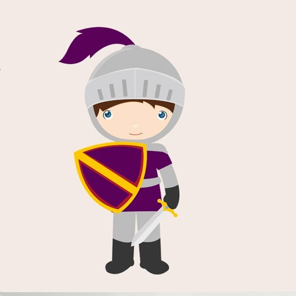 Stickers for Kids: Purple knight