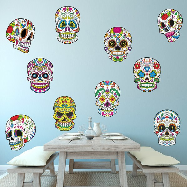 Wall Stickers: Kit of 8 Mexican Skulls