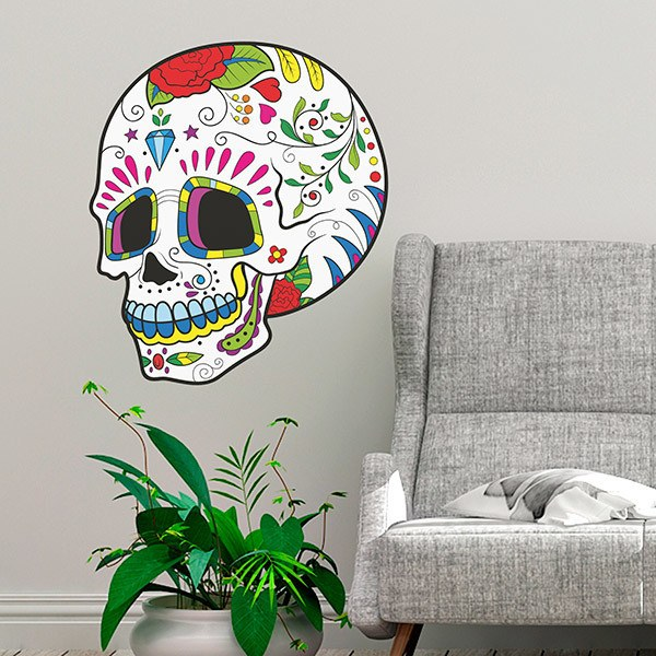 Wall Stickers: Mexican Skull Cantinflas