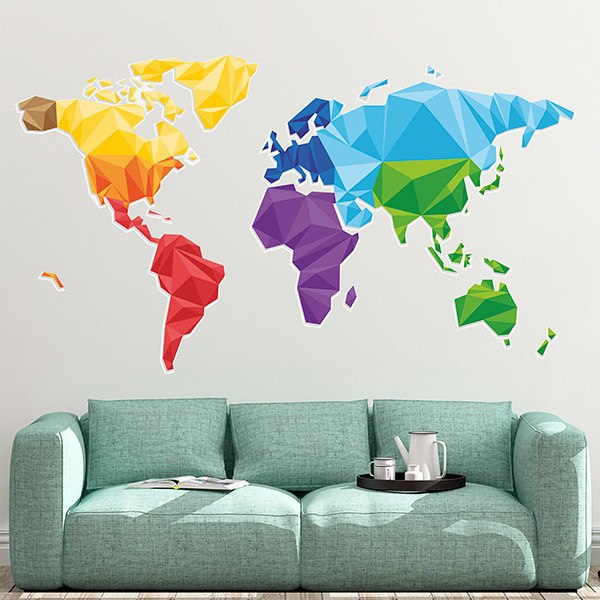 Wall Stickers: Geometric world map
