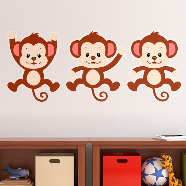 Stickers for Kids: Kit 3 monkeys