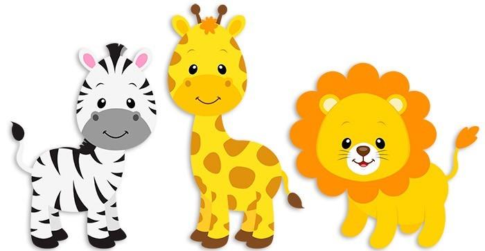 Safari zebra giraffe and lion for Stickers de pared infantiles
