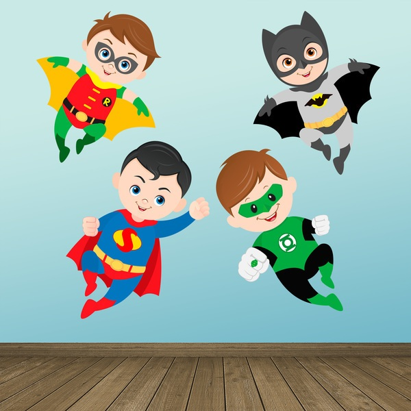 Stickers for Kids: Kit Superheroes flying