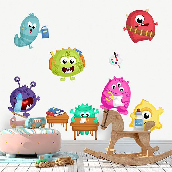 Stickers for Kids: Kit Monsters at school