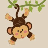 Stickers for Kids: Monkey hung on the vine 3
