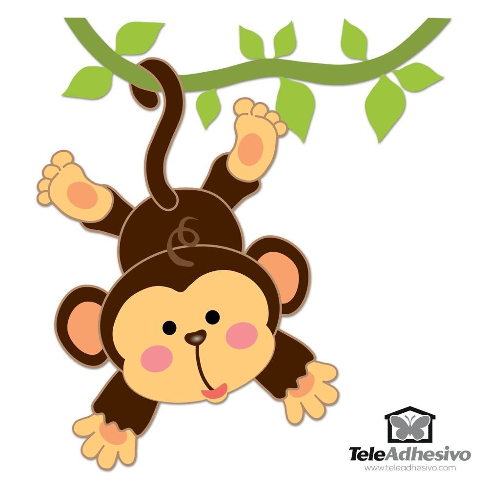 stickers for kids monkey hanging on the vine