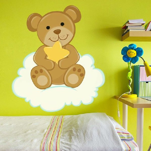 Stickers for Kids: Little bear with star sitting on the cloud