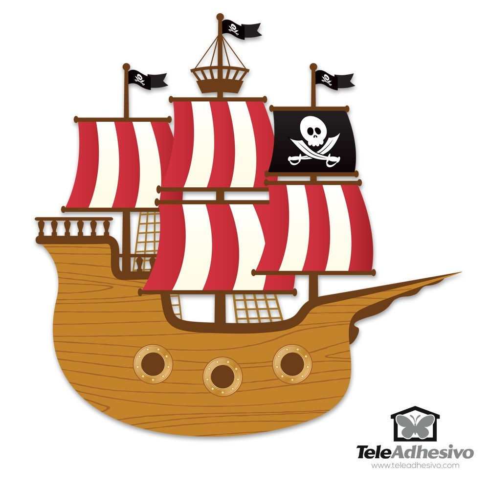 Stickers for kids small pirate boat - Imagenes de barcos infantiles ...