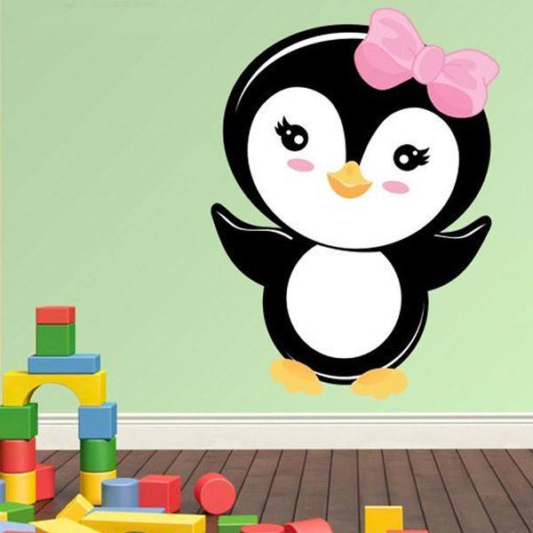 Stickers for kids penguin pink bow