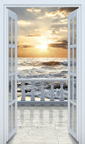 Wall Stickers Door to balcony on the beach & Door to balcony on the beach pezcame.com