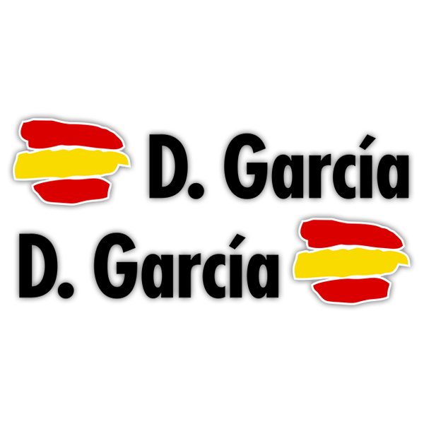 Car & Motorbike Stickers: 2X Flags Spain + Name in black