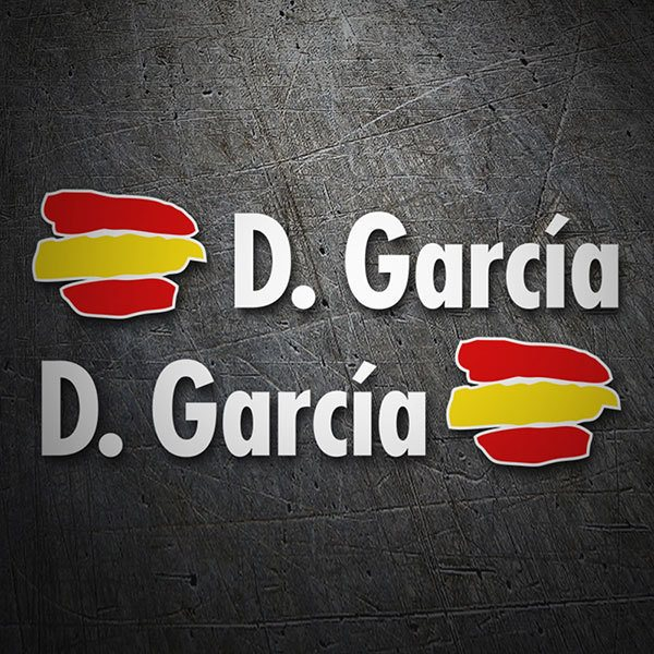 Car & Motorbike Stickers: Flags Spain + Name in white
