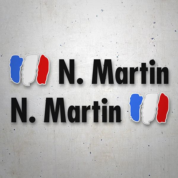Car & Motorbike Stickers: 2X Flags France + Name in black