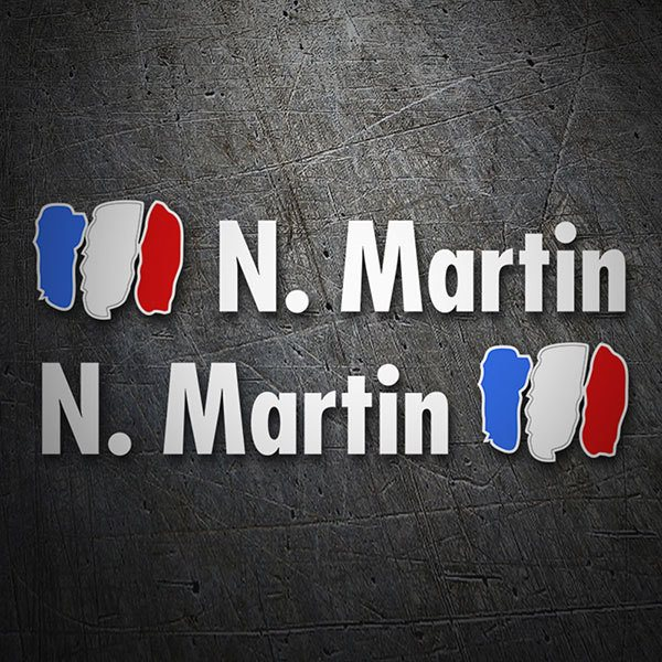 Car & Motorbike Stickers: Kit 2 Flags France + Name in white