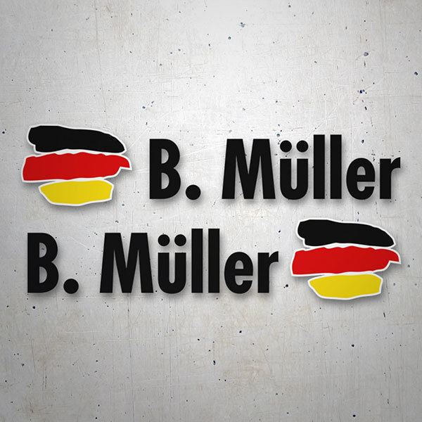 Car & Motorbike Stickers: 2X Flags Germany + Name in black