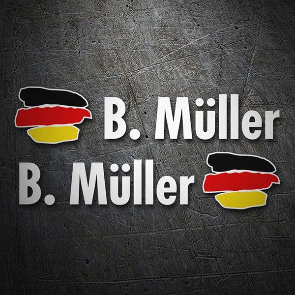 Car & Motorbike Stickers: 2X Flags Germany + Name in white