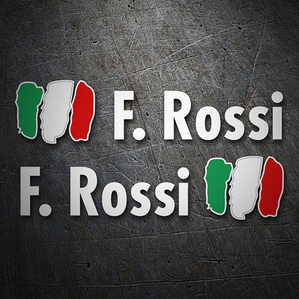Car & Motorbike Stickers: 2X Flags Italy + Name in white