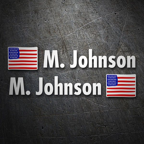 Car & Motorbike Stickers: 2X Flags USA + Name in white 1