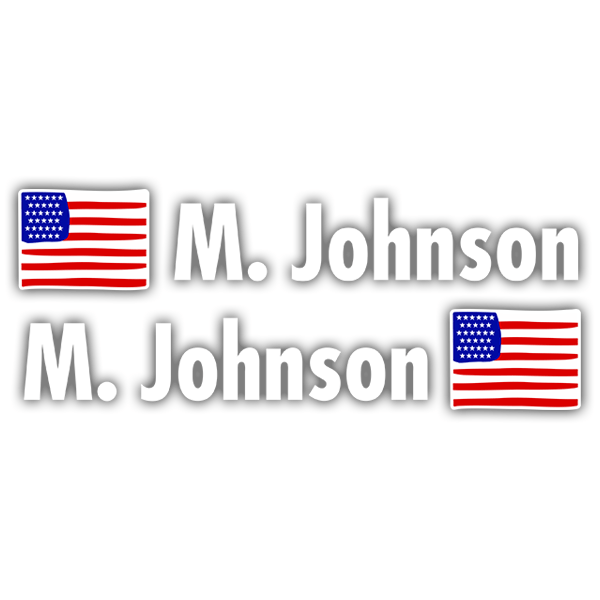 Car & Motorbike Stickers: Kit 2 Flags USA + Name in white