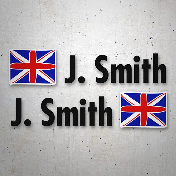 Car & Motorbike Stickers: Kit 2 Flags United Kingdom + Name in black