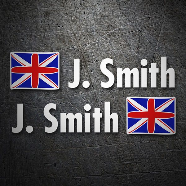 Car & Motorbike Stickers: 2X Flags United Kingdom + Name in white
