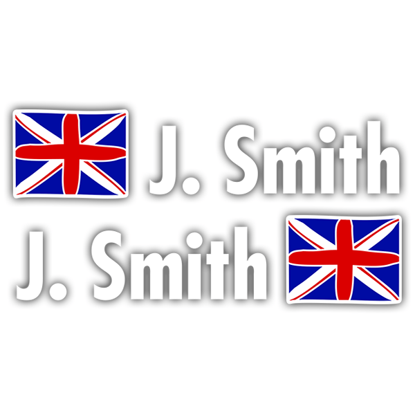 Car & Motorbike Stickers: Kit 2 Flags United Kingdom + Name in white