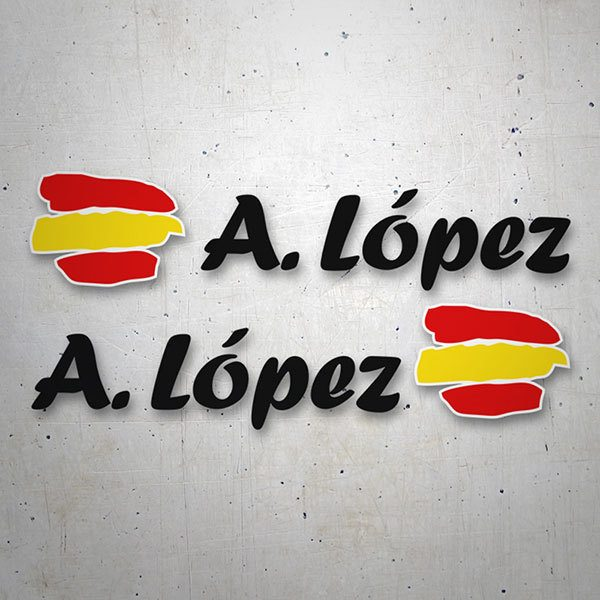 Car & Motorbike Stickers: 2X Flags Spain + black calligraphic name