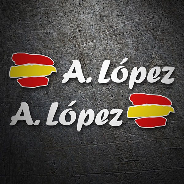 Car & Motorbike Stickers: 2X Flag Spain + white calligraphic name 1