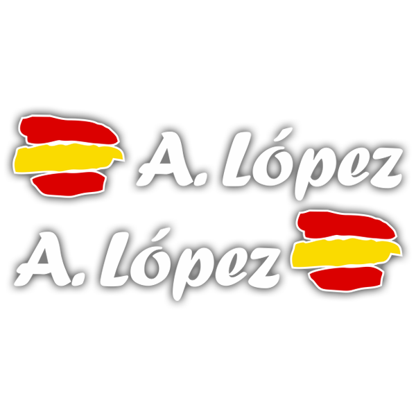 Car & Motorbike Stickers: 2X Flag Spain + white calligraphic name 0