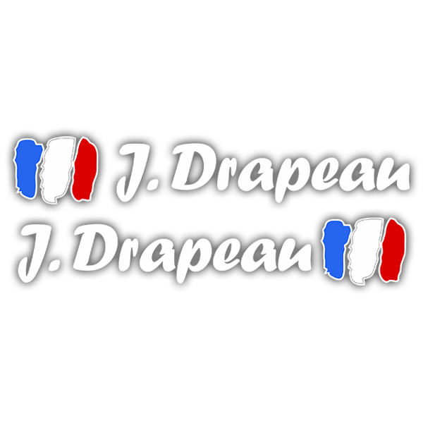 Car & Motorbike Stickers: 2 Flags France + white calligraphic name