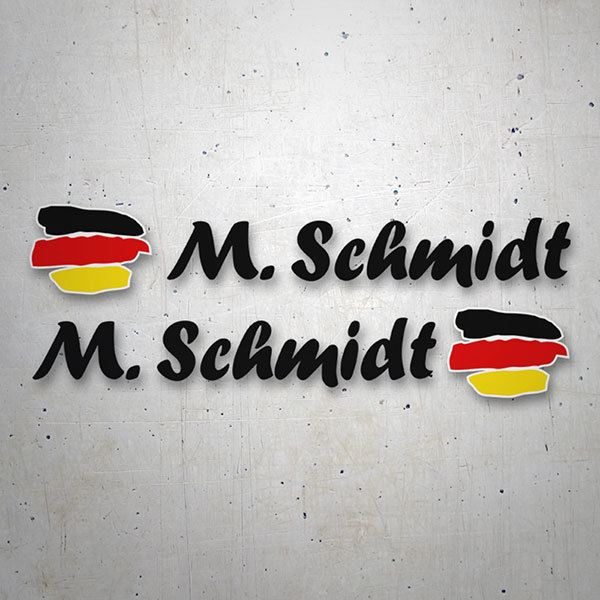 Car & Motorbike Stickers: 2 Flags Germany + Black calligraphic name