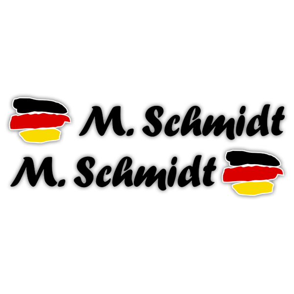 Car & Motorbike Stickers: 2X Flags Germany + Black calligraphic name