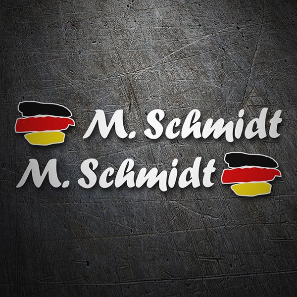 Car & Motorbike Stickers: 2X Flags Germany + white calligraphic name