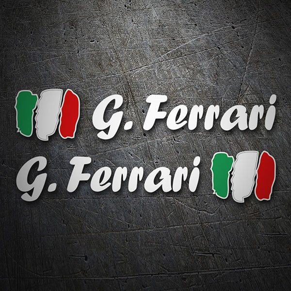 Car & Motorbike Stickers: 2X Flags Italy + white calligraphic name