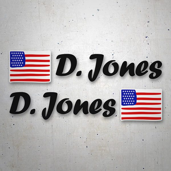 Car & Motorbike Stickers: 2 USA Flags + Black Calligraphic Name