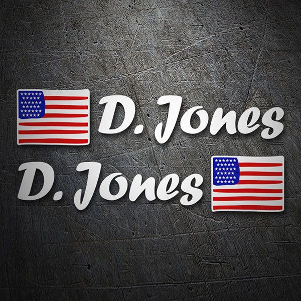 Car & Motorbike Stickers: 2X USA Flags + white  Calligraphic Name 1