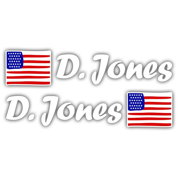 Car & Motorbike Stickers: 2X USA Flags + white  Calligraphic Name