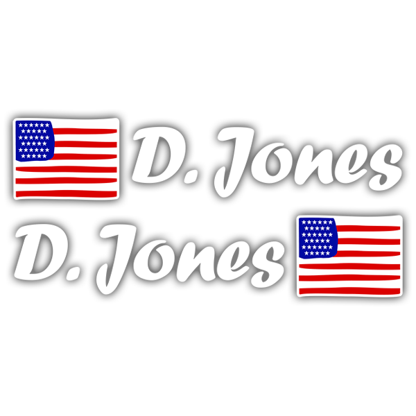 Car & Motorbike Stickers: 2X USA Flags + white  Calligraphic Name 0