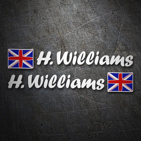 Car & Motorbike Stickers: 2X United Kingdom Flags + white Calligraphic Name
