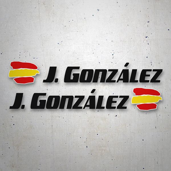 Car & Motorbike Stickers: 2X Flags Spain + Name sport black