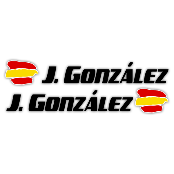 Car & Motorbike Stickers: 2 Flags Spain + Name sport black