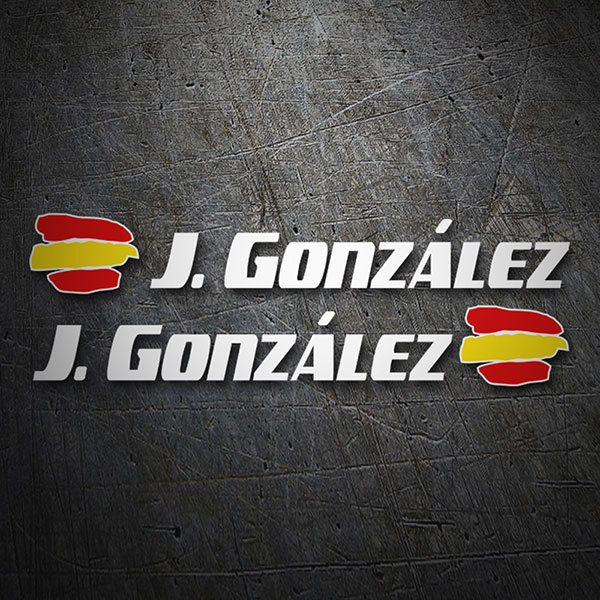 Car & Motorbike Stickers: 2 Flags Spain + Name sport white